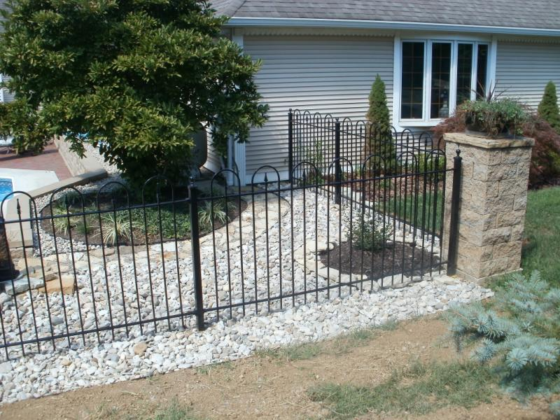 Hoop and Picket Style Iron Fence