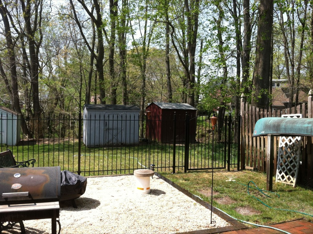 Homeowner Installed Iron Fence to Enclose Patio