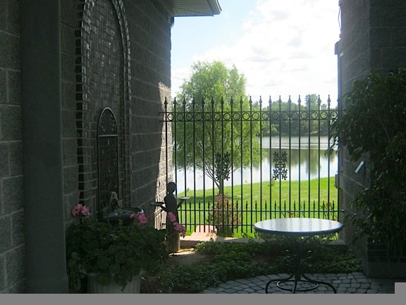 Customized Iron Fence Panel with Puppy Pickets, Rings and Oak Casting Decorations