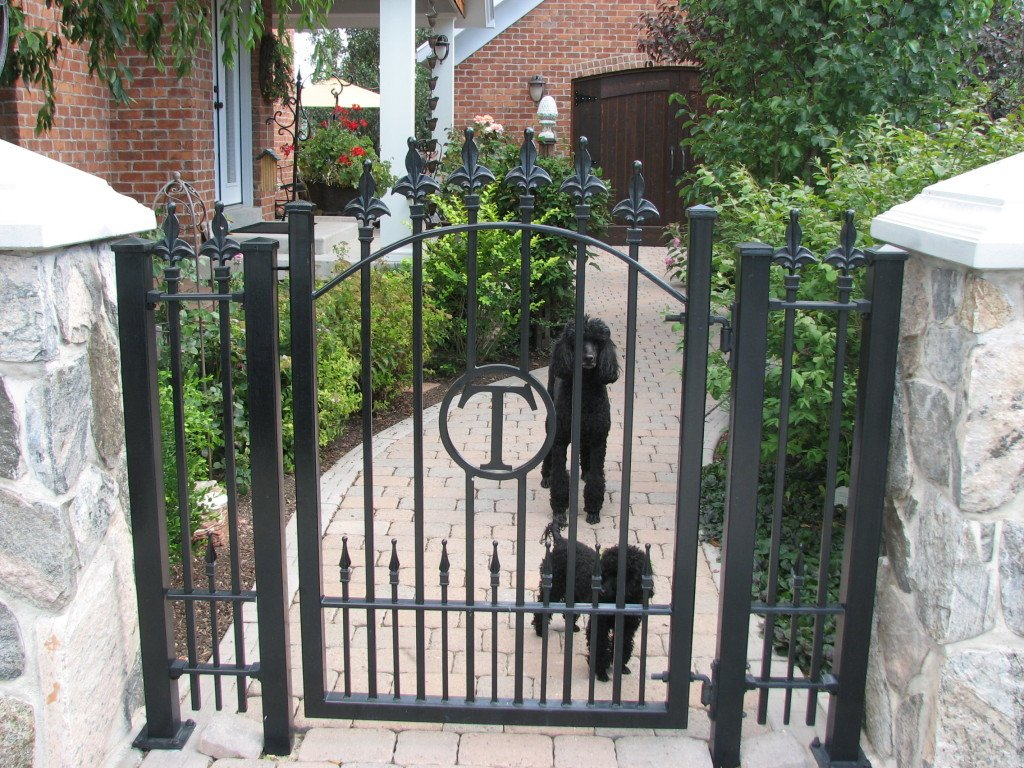 """Iron Walk Gate with Custom Finial Tips, Puppy Pickets and a """"T"""" Initial"""