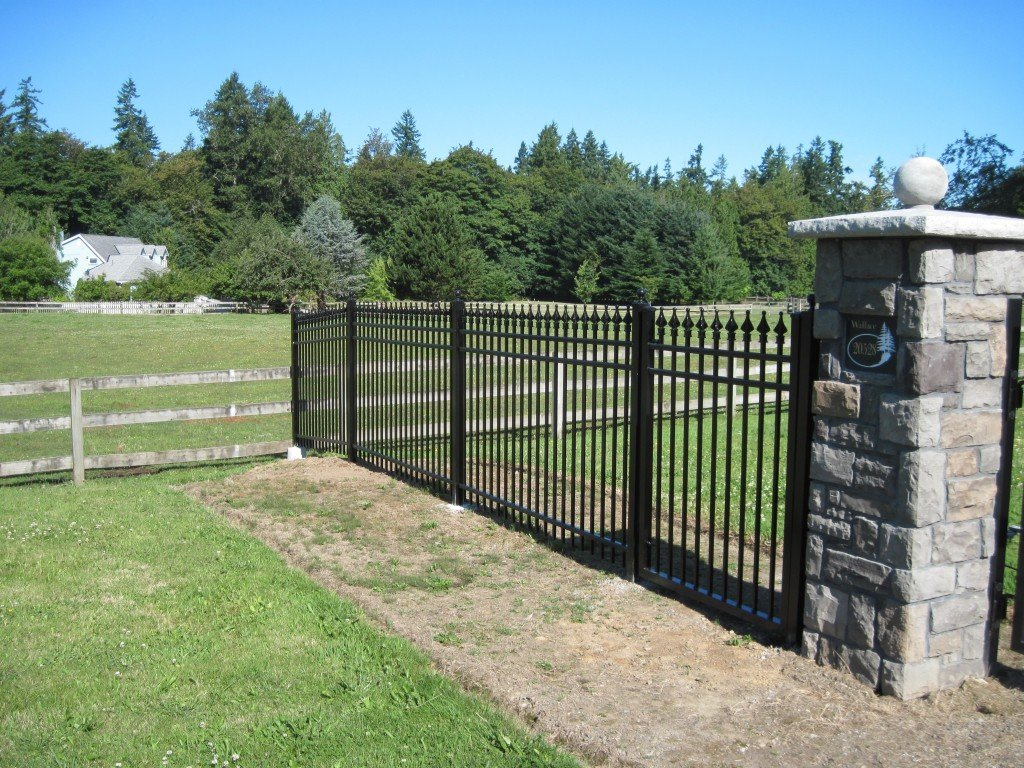 5ft Tall Iron Fence DIY Installed with Stone Column