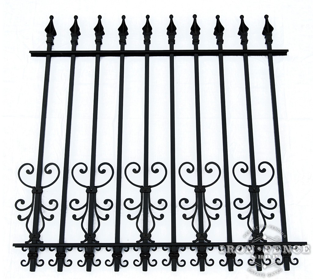 Cape Cod and Butterfly Scroll Decorations as a Dog Barrier on a 4ft Tall Signature Iron Fence