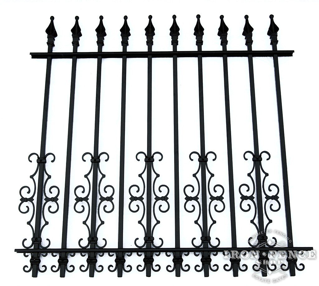 Guardian and Butterfly Scroll Decorations as a Dog Barrier on a 4ft Tall Signature Iron Fence