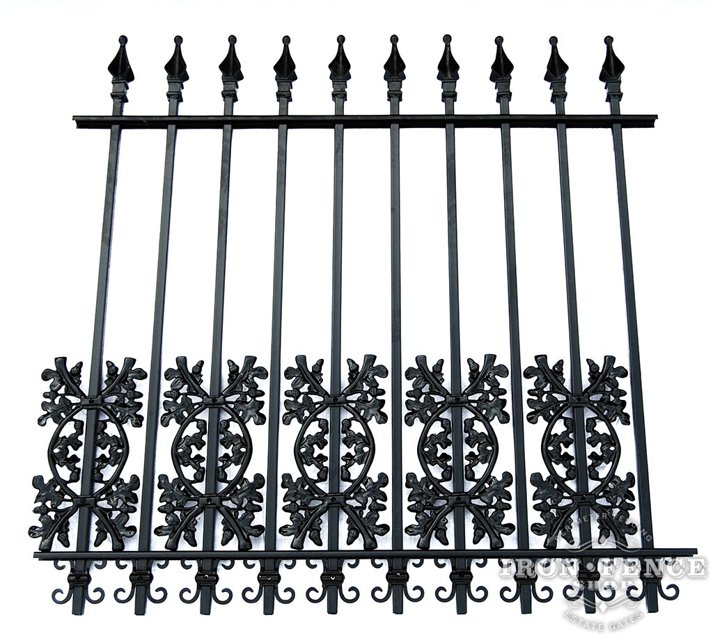 Oak and Butterfly Scroll Decorations as a Dog Barrier on a 4ft Tall Signature Iron Fence