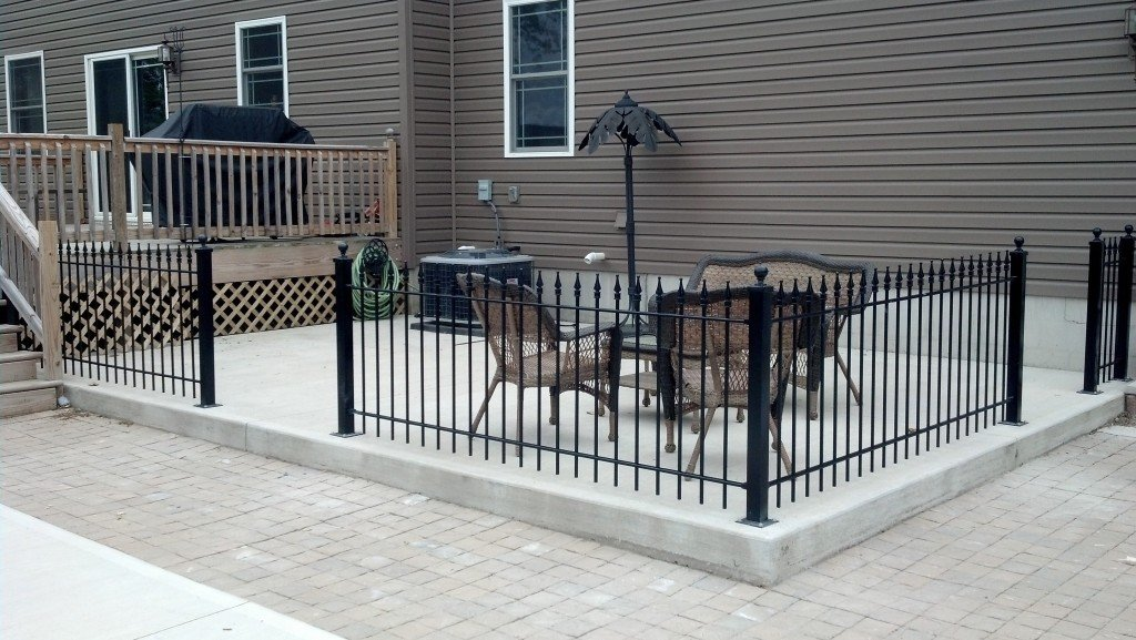 3ft Iron Fence Mounted to Concrete Patio Surface with Flange Posts