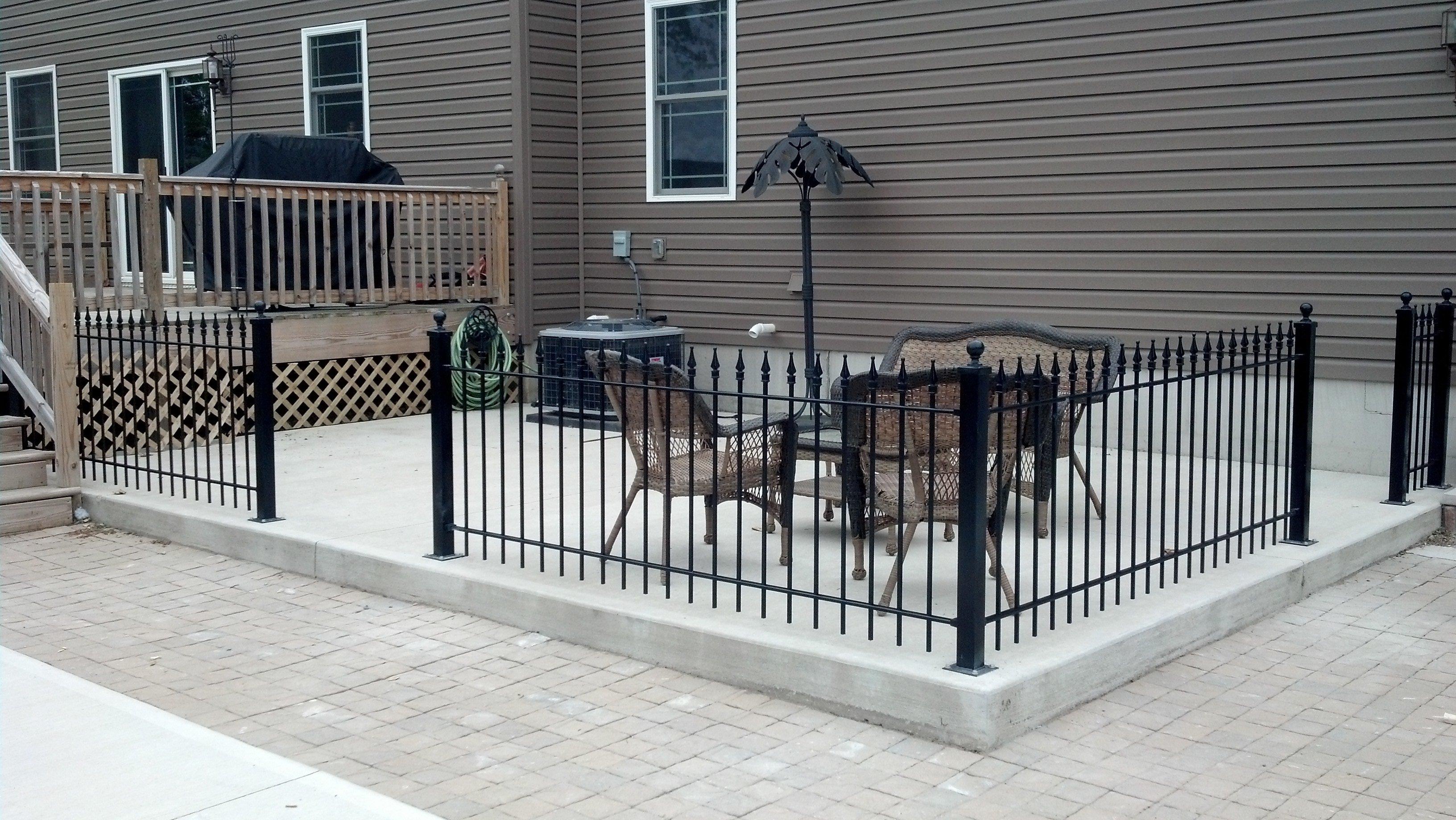 An iron fence testimonial from pennsylvania iron fence for Concrete patio railing