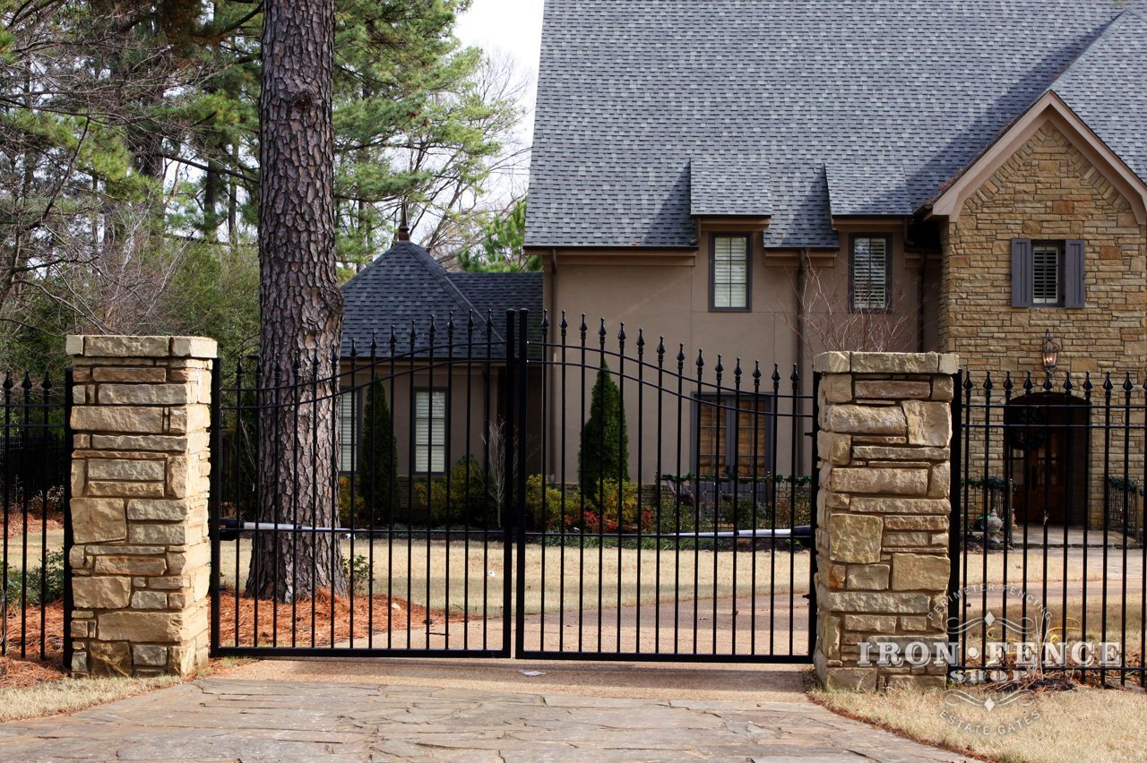 Stone Gate Pillars : Mounting wrought iron or aluminum fence to something other