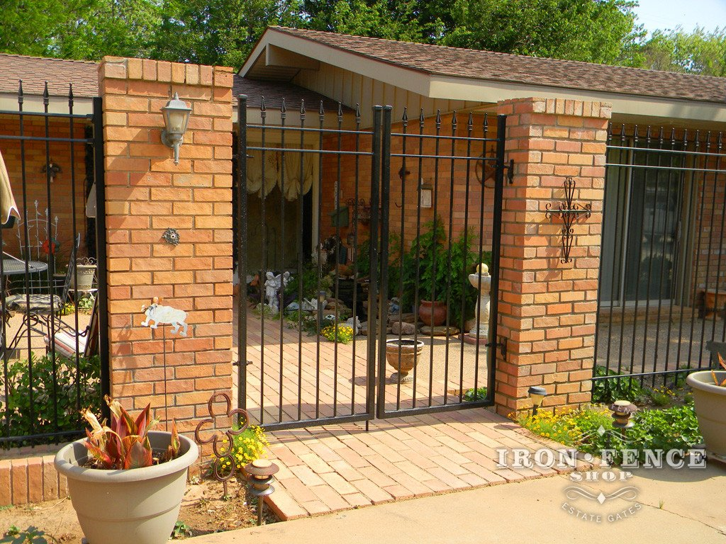 Combining iron aluminum fence with brick stone or wood for Brick and wrought iron fence