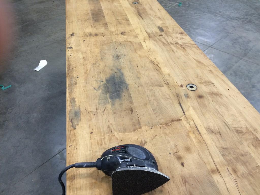 Oak Table Top Before Sandling