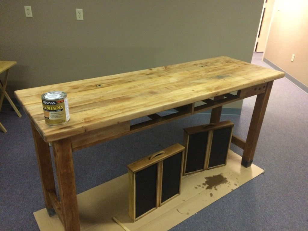 Oak Table After a Coat of Minwax® Wood Conditioner