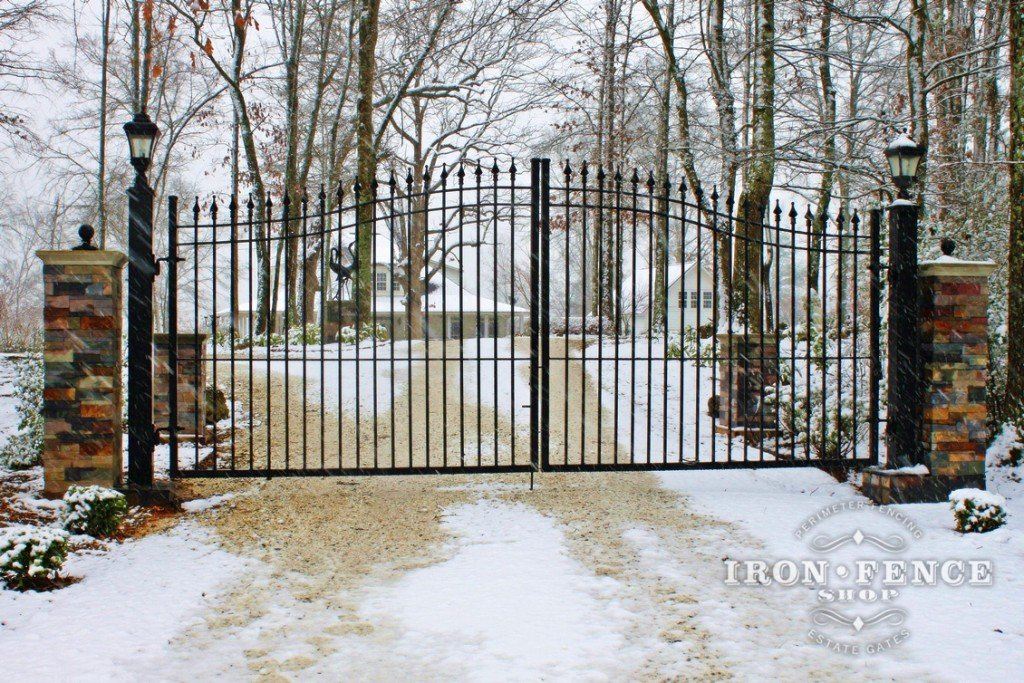 Homeowner Installed Iron Arched Driveway Gate