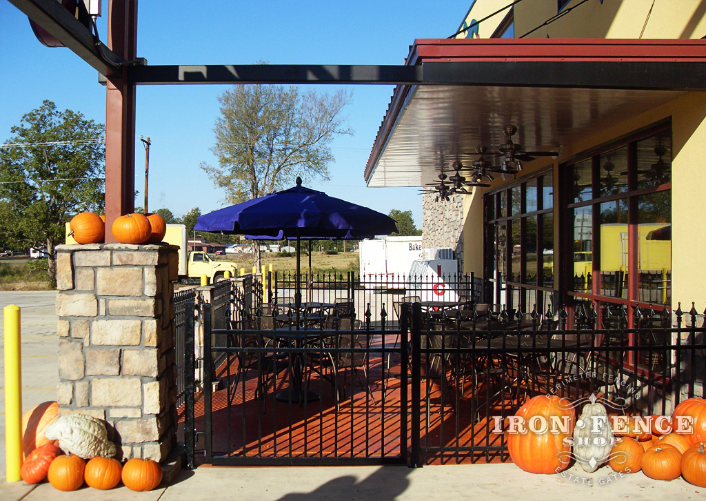 Beautiful 4ft Tall Signature Grade Aluminum Fence Around A Commercial Patio
