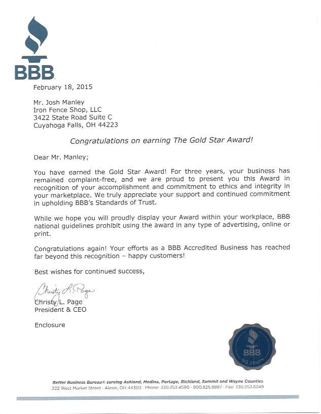 BBB Gold Star Award Letter