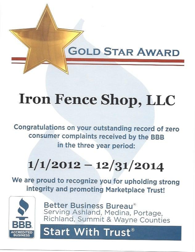 Iron Fence Shop - BBB Gold Star Award