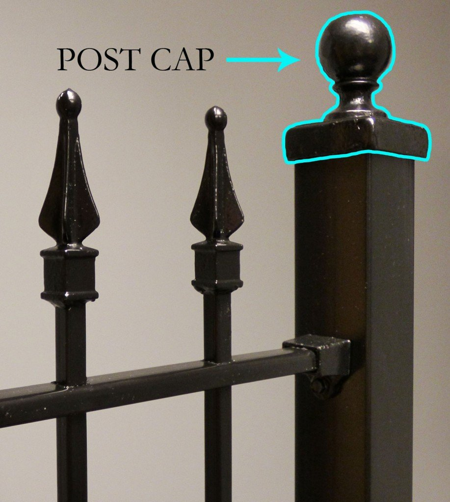 Iron and Aluminum Fence and Gate Post Cap Component