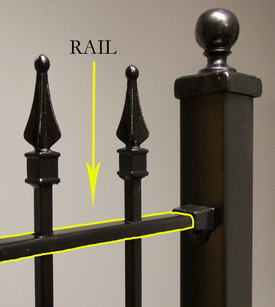 Iron and Aluminum Fence and Gate Rail Component