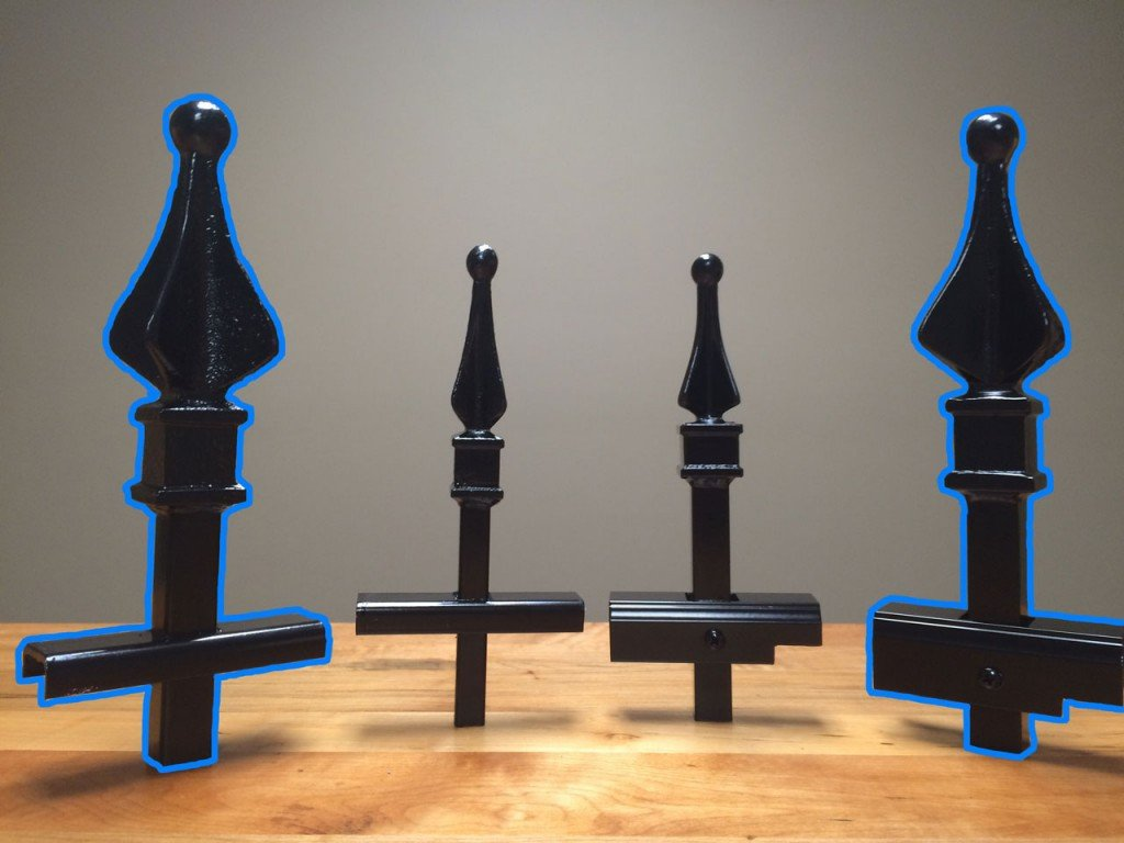 Signature Grade Iron (Left) and Aluminum (Right) Sample Pieces Highlighted in Blue