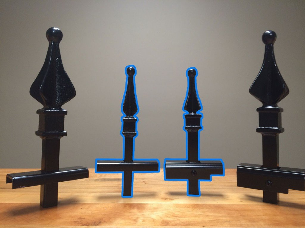 Traditional Grade Iron (Left) and Aluminum (Right) Sample Pieces Highlighted in Blue