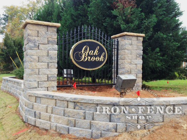 Wrought Iron Arched Gate Used as a Sign Backdrop