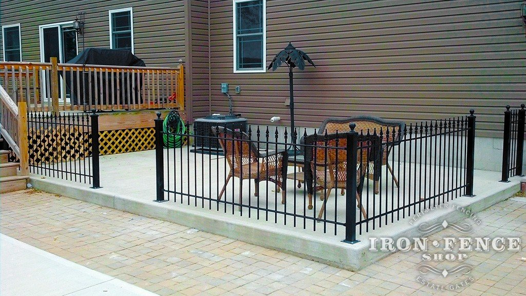 3ft Tall Wrought Iron Fence Installed on a Concrete Patio