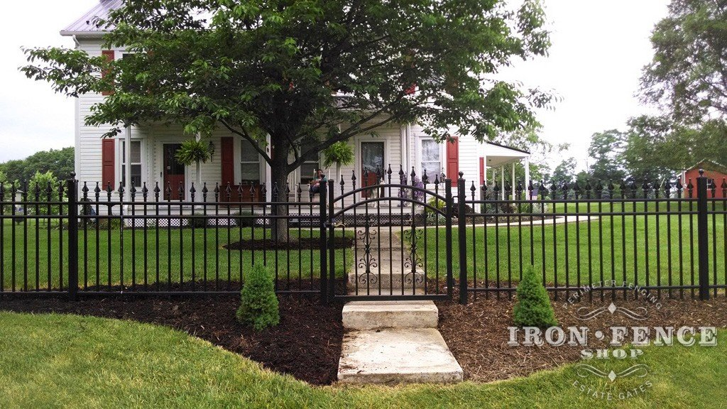 4ft Tall Signature Grade Aluminum Fence with an Arched Gate