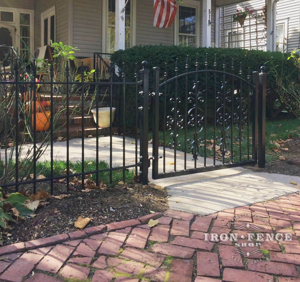 3ft Tall Iron Arched Walk Gate with Add-on Decorations
