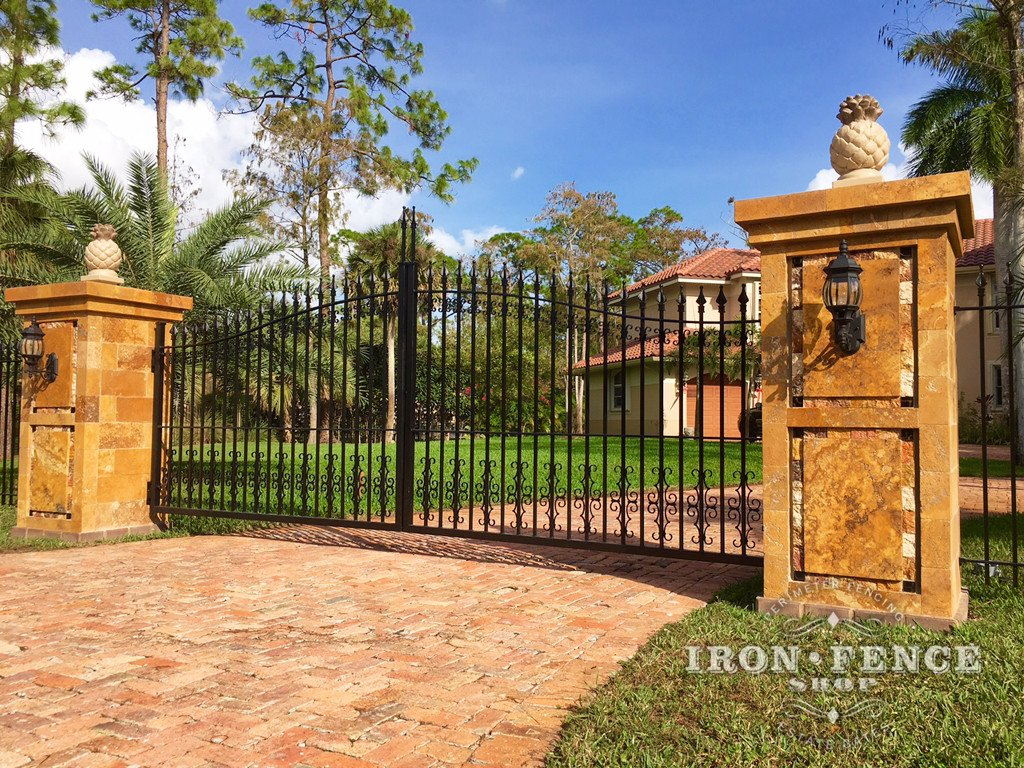 Wrought Iron Driveway Gate in Classic Style with Add-on Scroll Decorations - 14ft Wide in a 5ft Arching to 6ft Height