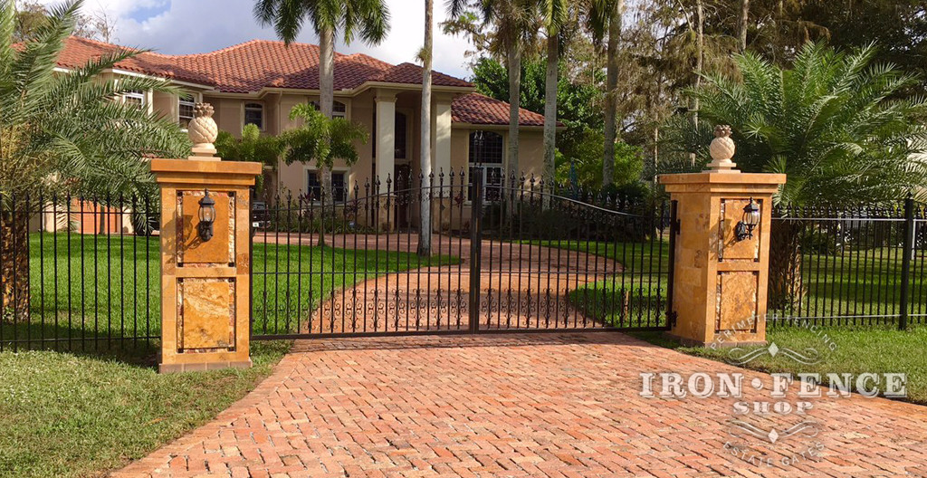 Stronghold Iron Driveway Gate in Classic Style -14ft Wide in a 5ft arching to 6ft Height