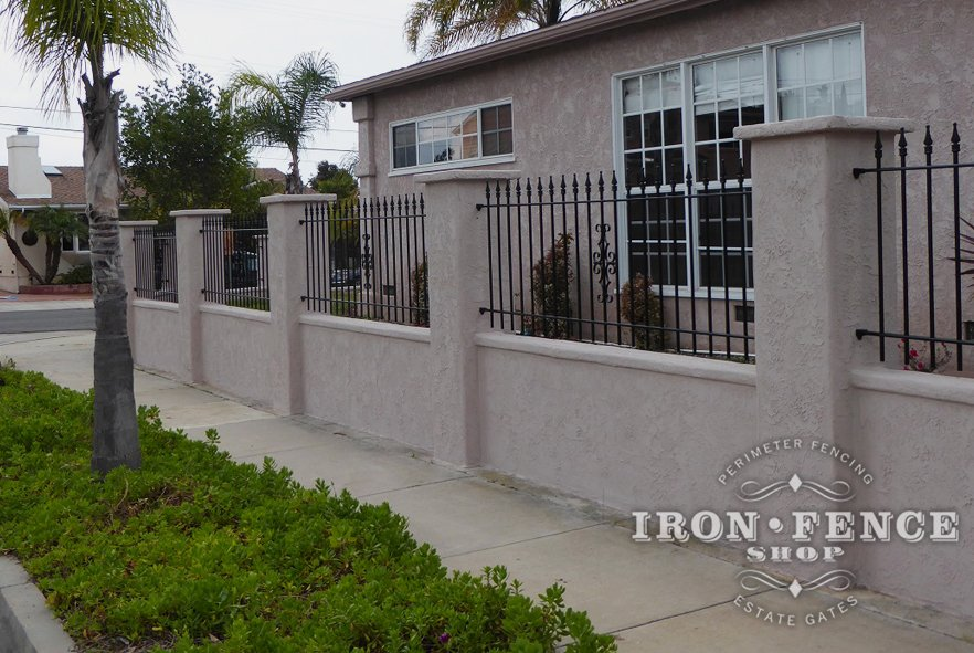3ft Iron Fence on Stucco Wall Between Columns