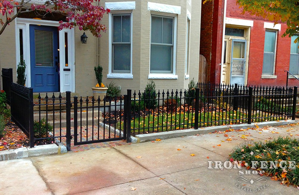 3ft Tall Stronghold Iron Fence Panels in Classic Style Around a Courtyard