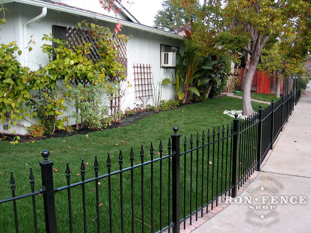 Installing wrought iron fence panels around a radius