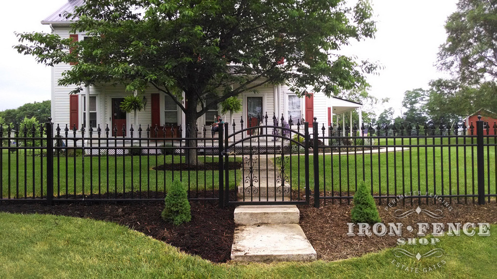 Our 4ft Tall Infinity Aluminum Fence and Arched Gate in Classic Style