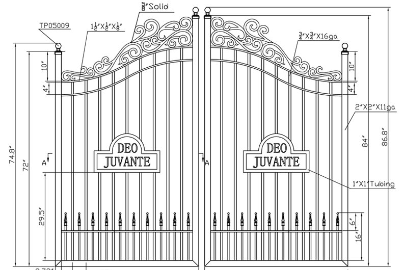 Example of a Custom Wrought Iron Gate with Scroll Work and Motto