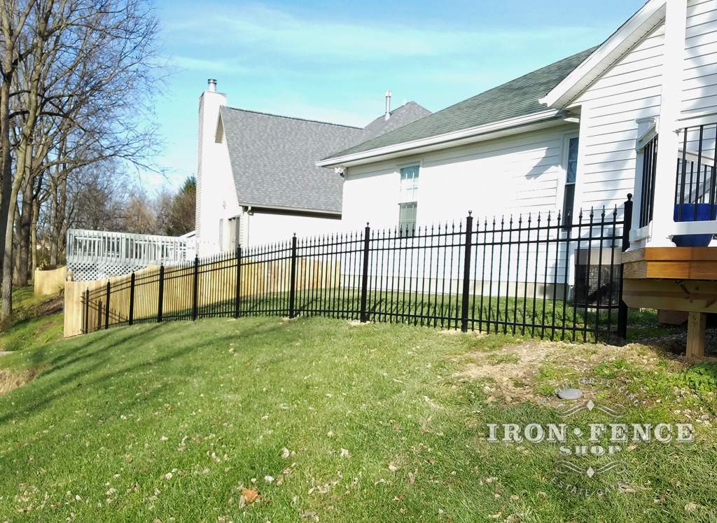Infinity Aluminum Fence Panels Racked to Follow Yard Slope