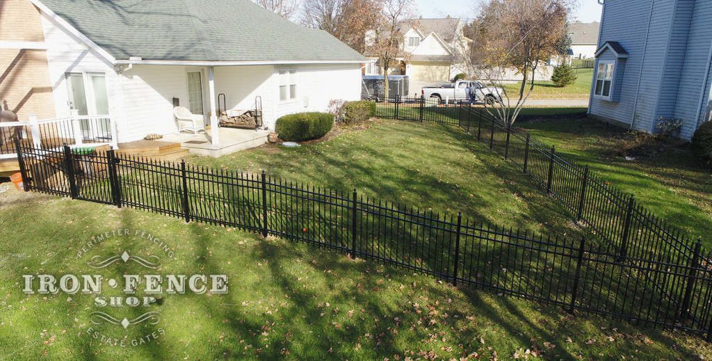 Aluminum Fence Racked to Follow Yard Slope