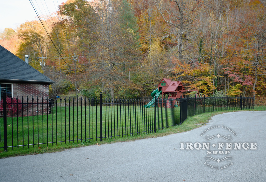 5ft Wrought Iron Fence Curved Around a Cul-De-Sac and Play Area