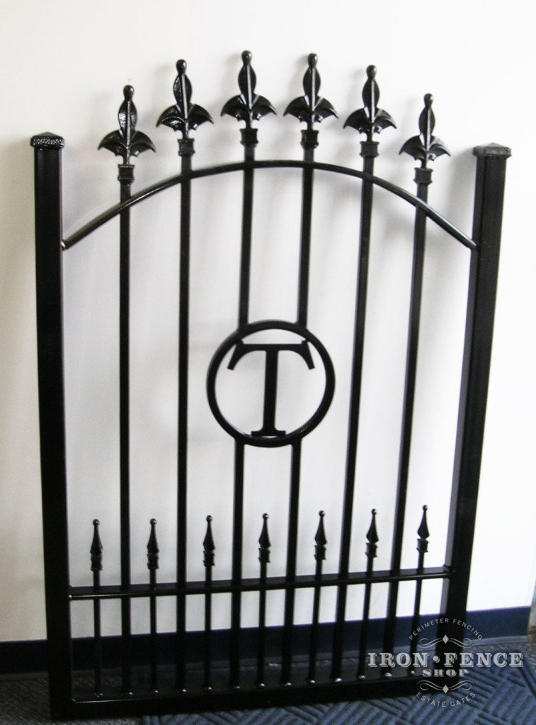 Custom Wrought Iron Gate with Initials and Imperial Finial Tips on Top