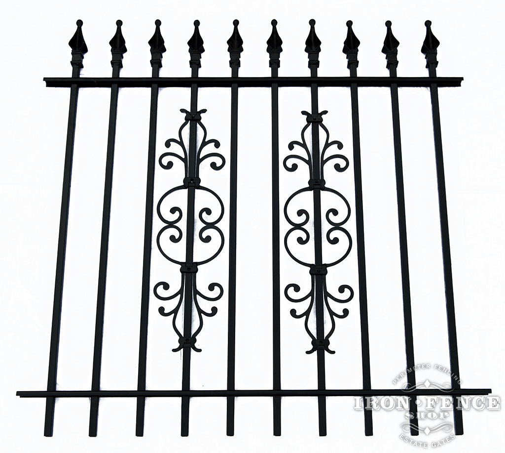 4ft Tall Iron Fence with Stacked Cape Cod Decorations