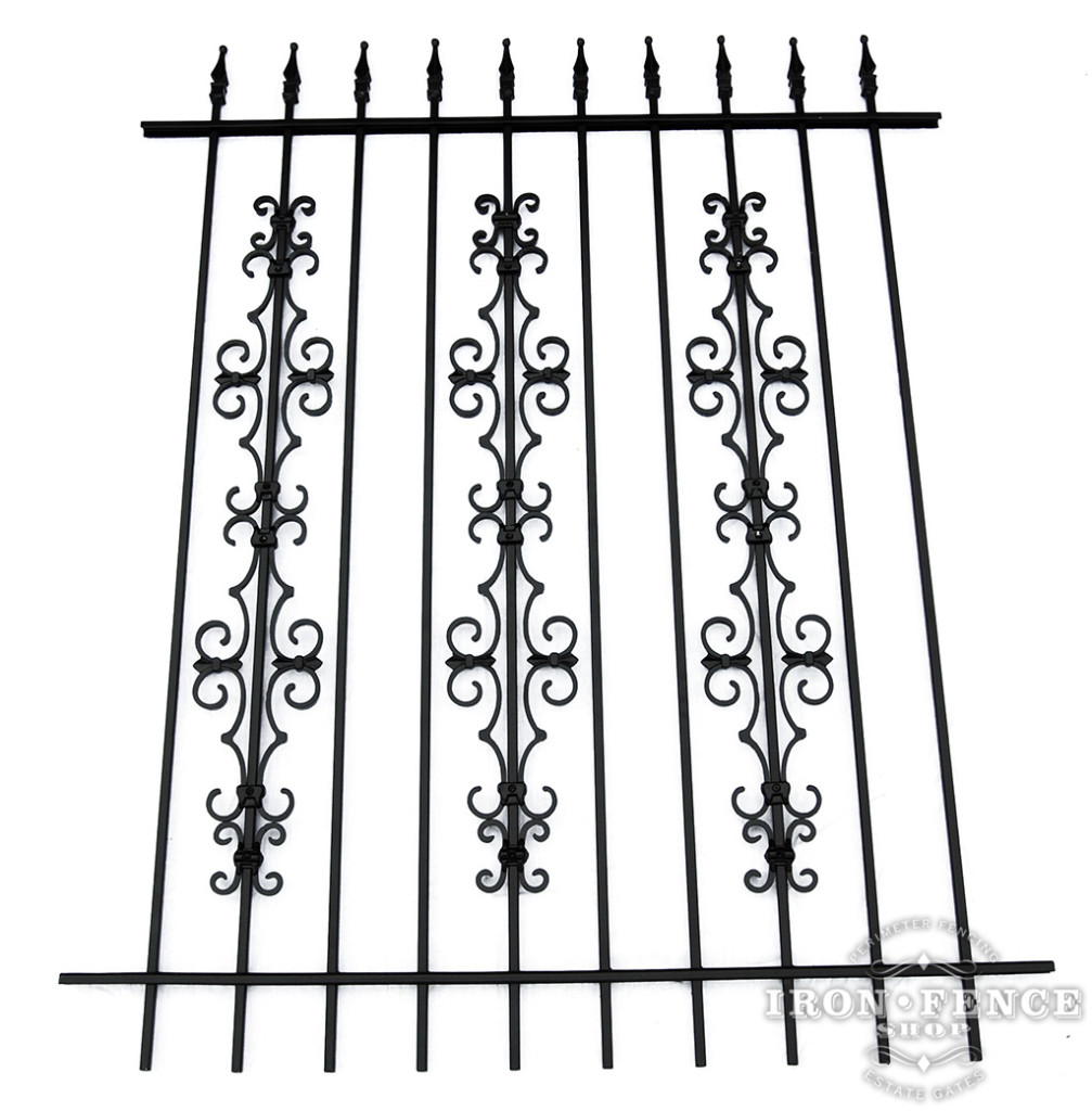5ft Tall Iron Fence with Stacked Guardian and Butterfly Add-on Decorations