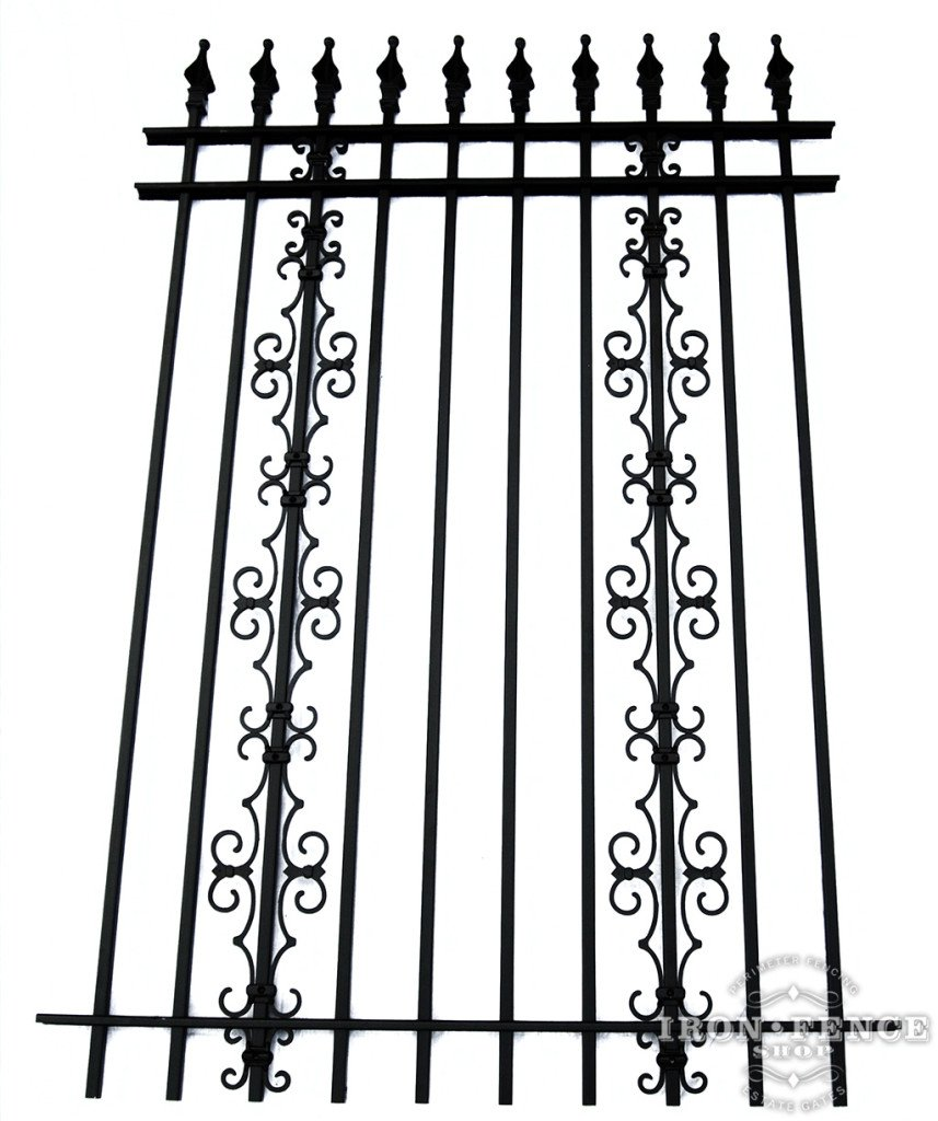6ft Tall Iron Fence with Stacked Guardian and Butterfly Decorations