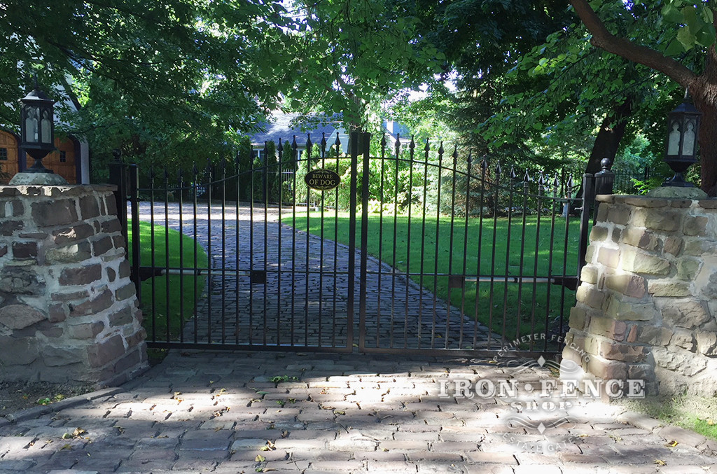 12ft Iron Driveway Gate with Automation Mounted on Posts  Behind Stone Columns. (5ft to 6ft Height)
