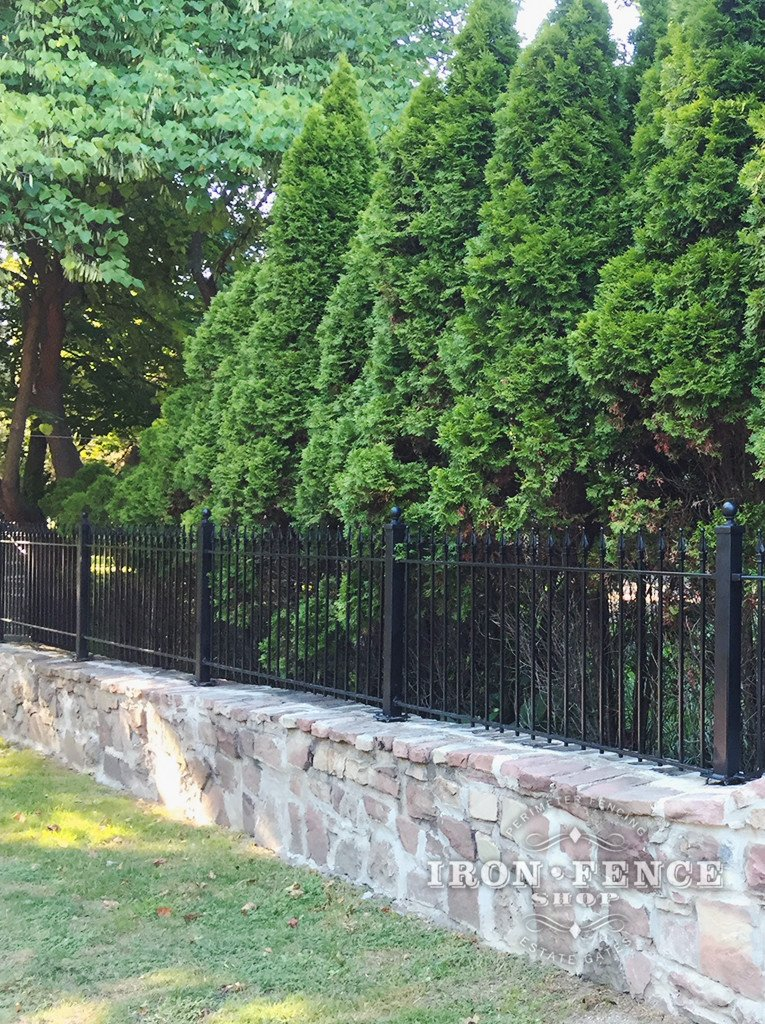 3ft Iron Fence Installed on a Stone Wall Top with Flange Posts