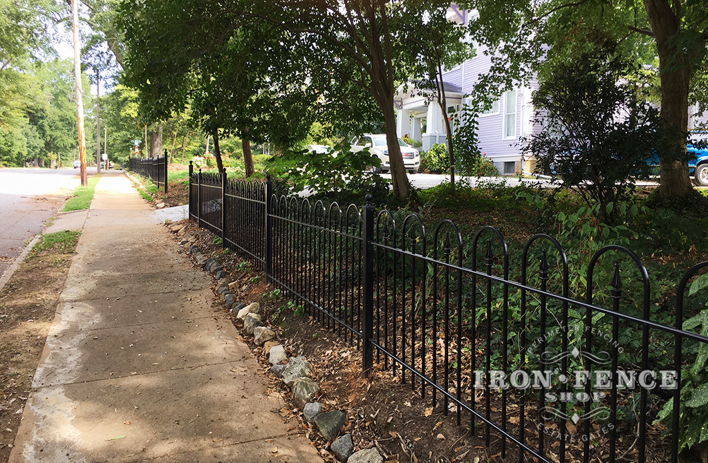 A Custom Victorian Hoop and Picket Iron Fence in a 3ft Height