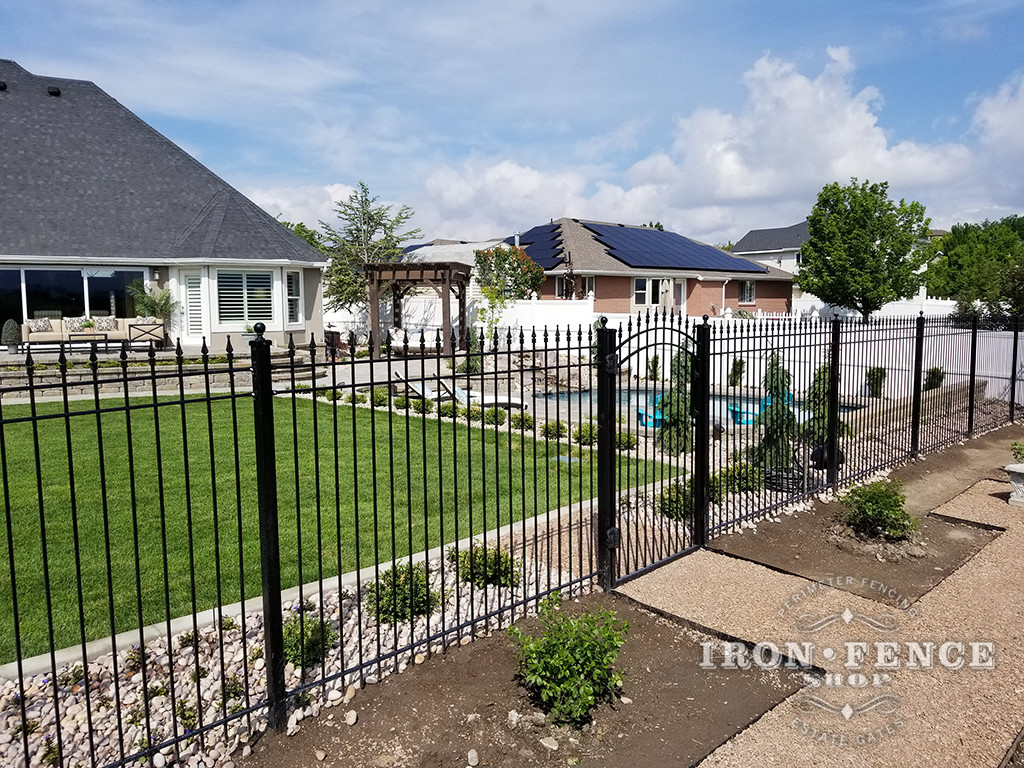 Our 6ft Tall Classic Iron Fence with Matching Iron Arched Gate