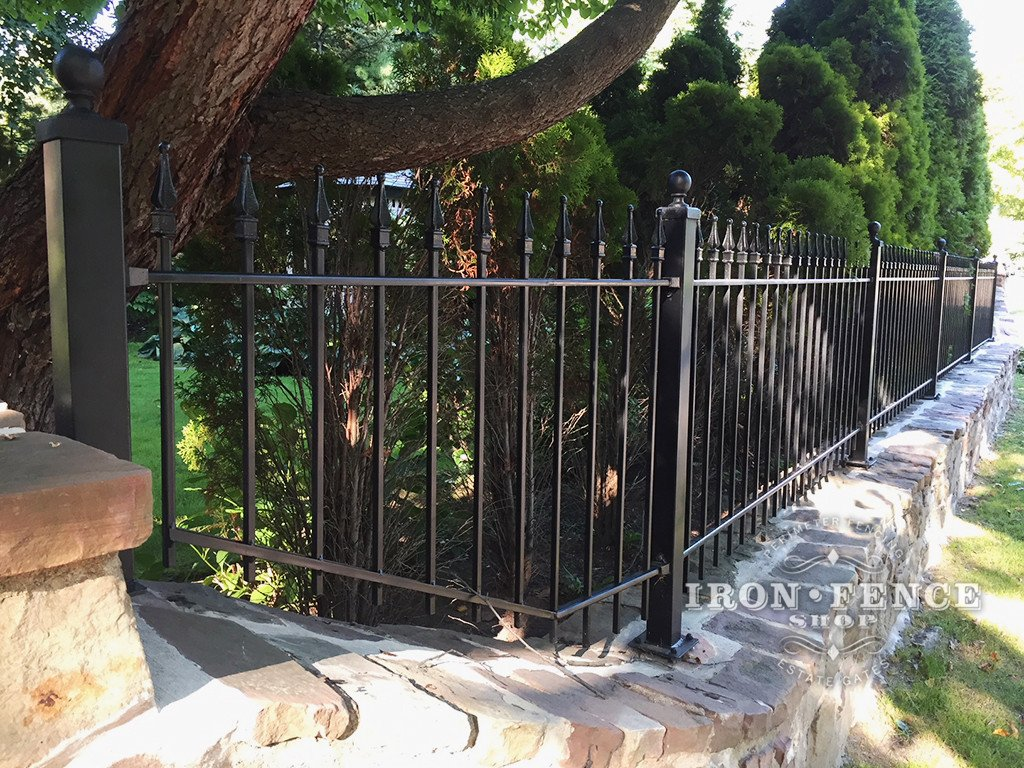 3ft Iron Fence Customized by Customer for a Stone Wall Top
