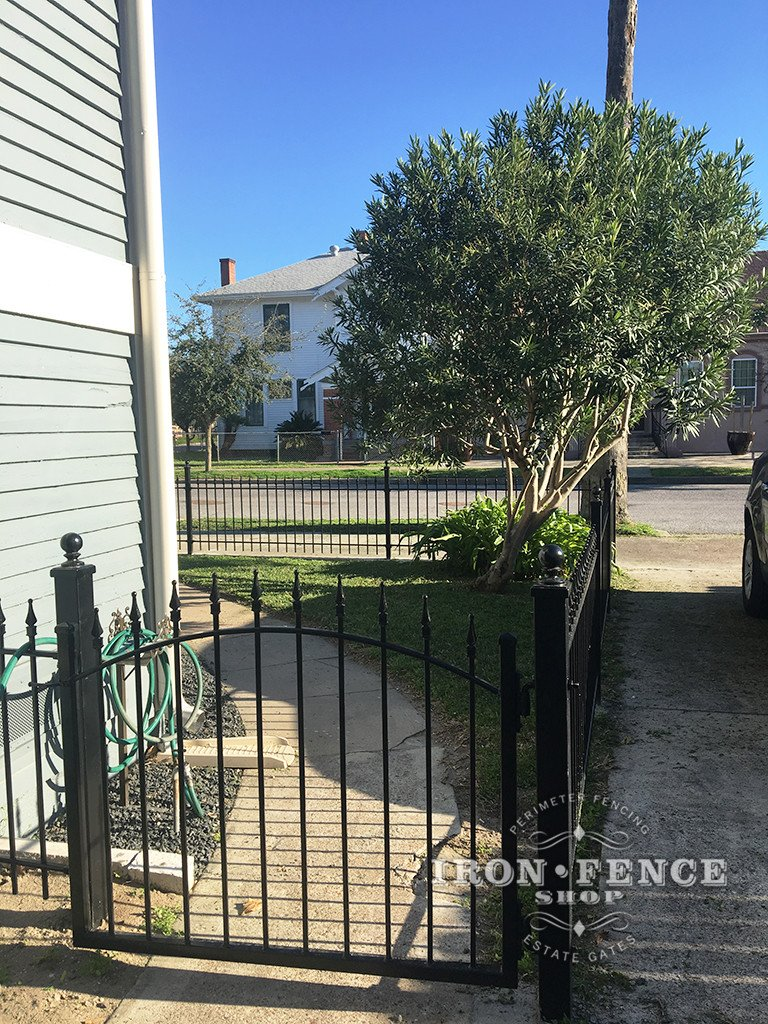 Side Yard with new Iron Arched Walk Gate