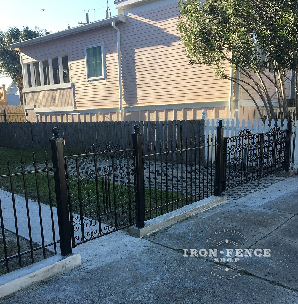Our Classic Iron Fence Used in Conjunction with Some Beautiful Antique Iron Gates